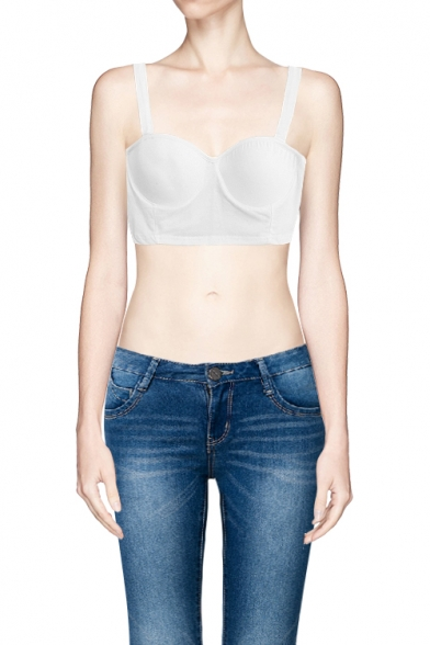 Skinny Plain Crop Cami Bandeau with Backless