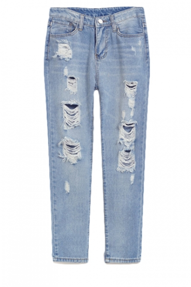 Zip Front Light Wash Distressed Jeans with Straight Leg