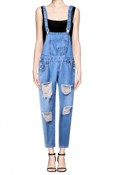 Distressed Detail Mid Waist Denim Overalls with Big Pockets