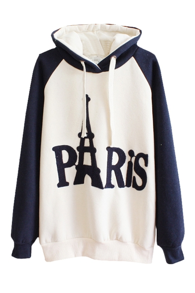 Classic Letter Print Long Sleeve Hoodie in Cotton