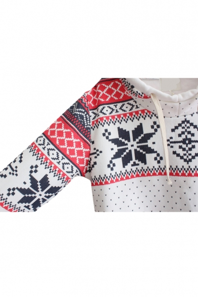Christmas Aztec Print Long Sleeve Hoodie with Funnel Neck