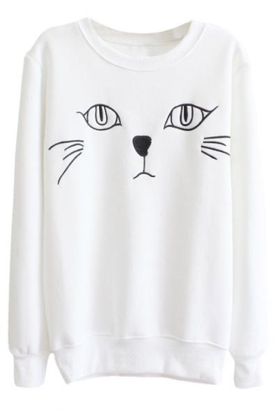 Cat Print Round Neck Long Sleeve Sweatshirt