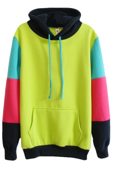 Eyes-catching Color Block Long Sleeve Hoodie with Pocket Front