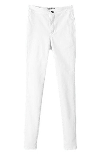 Plain Zipper-front Skinny Jeans with Pockets
