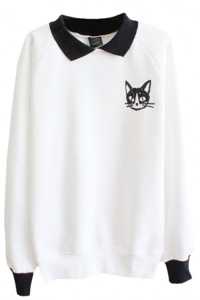 with Sleeve Cat Sweatshirt Pattern Collar Cuff and Contrast Long R7fqI