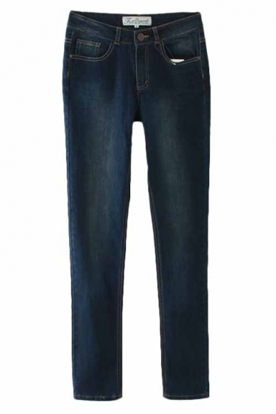 Dark Wash Straight Leg Jeans in Mid Rise