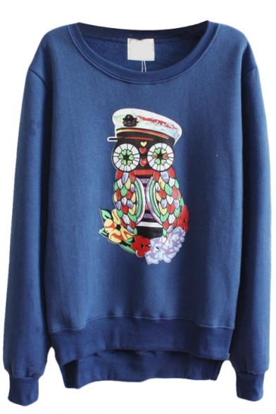 Cute Owl Pattern Long Sleeve Dip Hem Sweatshirt with Side Zip