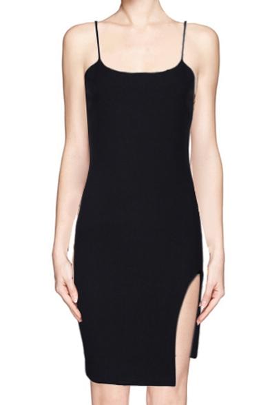 41d6ebc57688 Plain Skinny Zip Back Cami Dress with Split Side - Beautifulhalo.com
