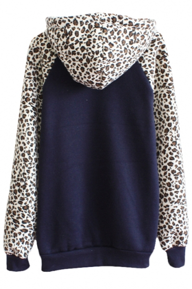 Leopard and Letter Print Pocket Front Hoodie with Long Sleeve