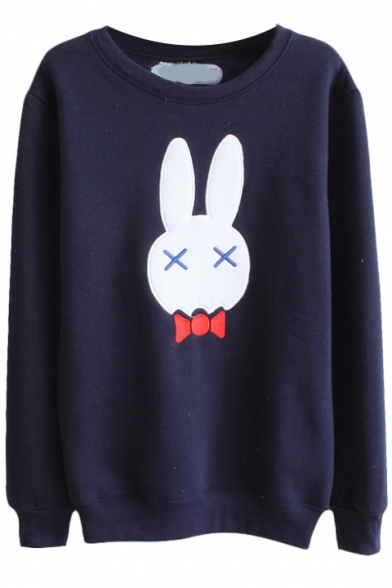 Lovely Rabbit Pattern Round Neck Long Sleeve Sweatshirt
