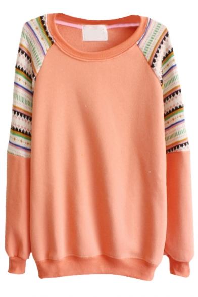 Simple Round Neck Sweatshirt with Knitted Raglan Sleeve