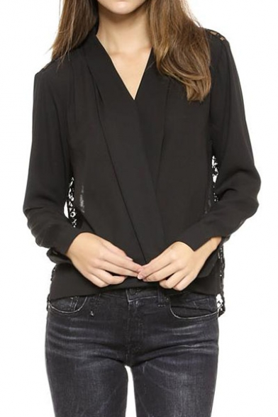 Black Wrap Front Lace Back Long Sleeve Blouse - Beautifulhalo.com
