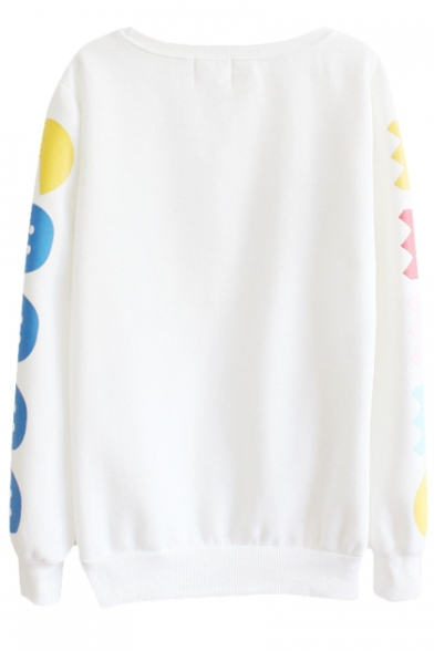 Sleeve Round Sweatshirt Letter Neck Print Cute Long Hq1xXpUPnw