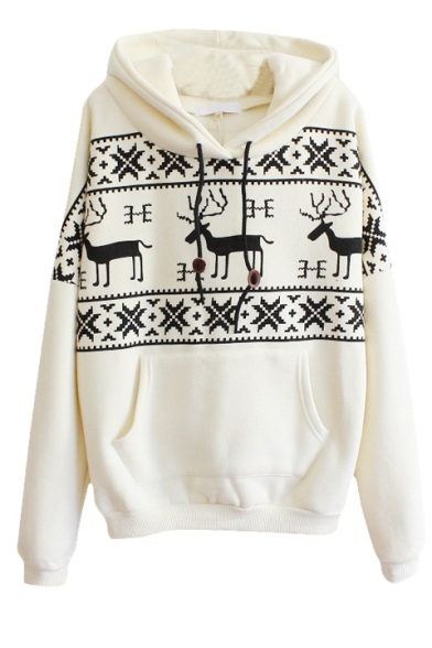 Christmas Mono Deer Print Long Sleeve Pocket Front Hoodie