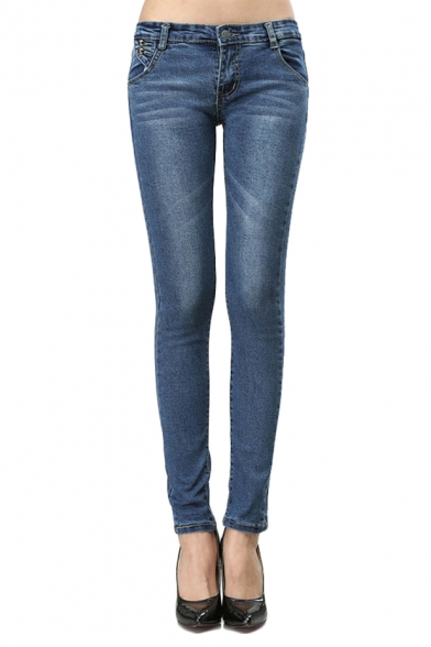 Mid Wash Zipper Fly Skinny Jeans with Whiskering
