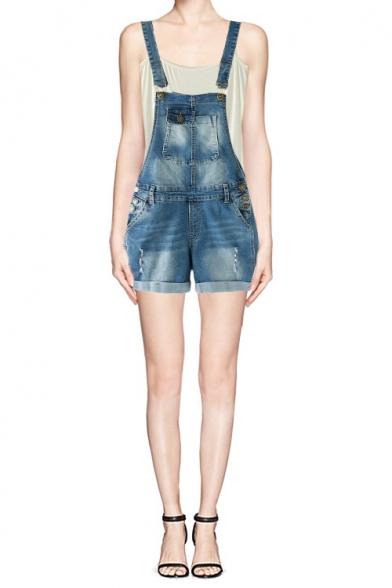 Denim Adjustable Straps Overall Shorts with Seamed Detail