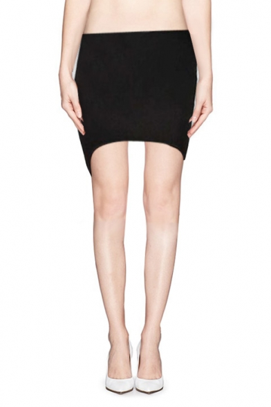 Black Elastic Waist Skinny Skirt with Dip Hem