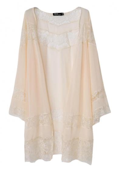 Elegant Lace Panel Chiffon Kimono Cardigan in Maxi Length