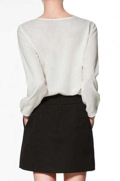 Plain Long Sleeve Chiffon Top with Cutouts