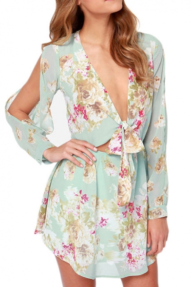 8762e4a7a91 Sexy Floral Print Tie Front Long Sleeve Dress with Cutouts -  Beautifulhalo.com