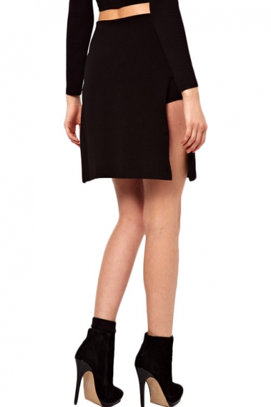 Sexy Black Knitted Mini Skirt with Side Slit - Beautifulhalo.com