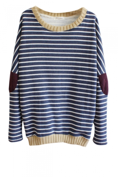 Contrast Trim Elbow Patch Long Sleeve Sweatshirt in Stripe Print