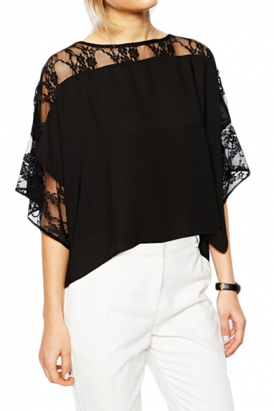 Lace Insert 3 4 Sleeve Chiffon Top With Double Slit
