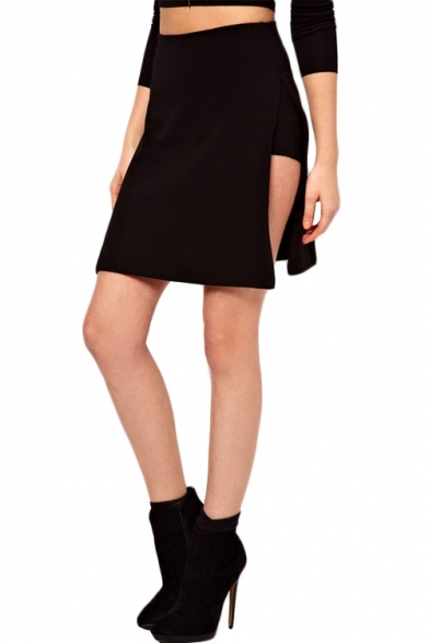 e633706eb Sexy Black Knitted Mini Skirt with Side Slit - Beautifulhalo.com