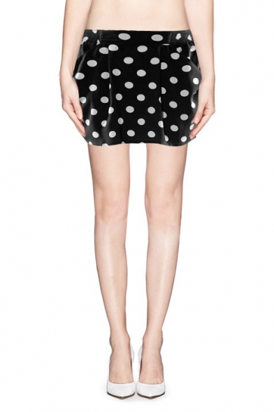 Polka Dot Print Elastic Waist Skirt with Side Pocket