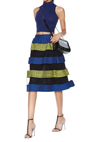 Charming Organza Paneled Stripe Print Skirt with Elastic Waist