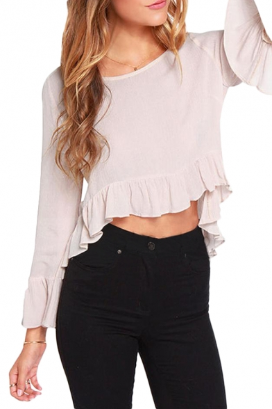 Womens Flowy Long Sleeve Semi Sheer Chiffon Blouse Top I love the cut of this top. Find this Pin and more on blusas by Ada. Wear this flowy long sleeve semi sheer chiffon blouse top for any occasion!