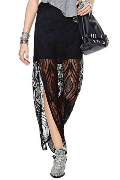 Elegant Lace Insert Semi Sheer Maxi Skirt