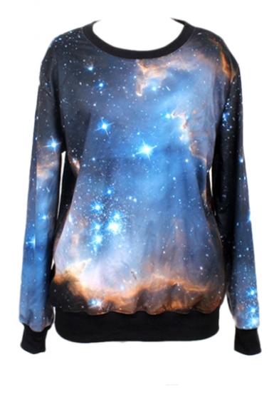 Cosmic Print Round Neck Long Sleeve Sweatshirt