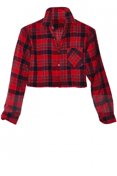 Red Plaid Print Pocket Front Cropped Shirt