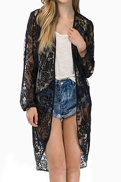Elegant Sheer Lace Insert Open Front Tunic Kimono Beautifulhalo Com