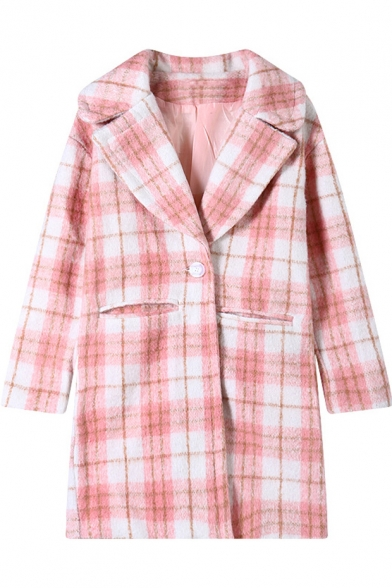 Pink Plaid Pattern Notched Lapel Woollen Coat with Double Pockets Front