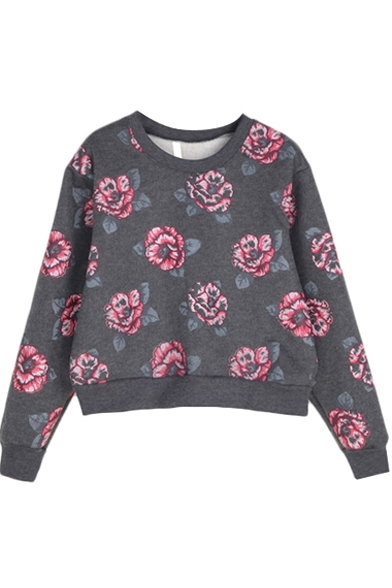 Camellia Print Long Sleeve Sweatshirt with Round Neckline