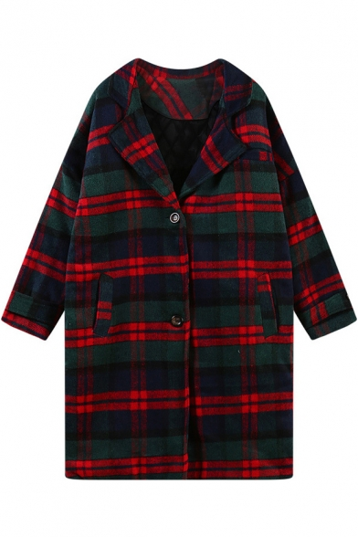 Christmas Style Plaid Notched Lapel Woollen Coat with Mini Pockets Front