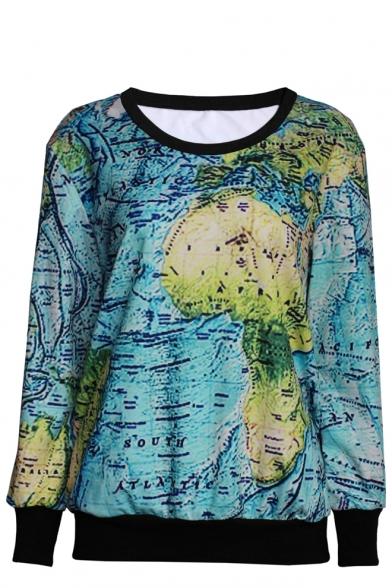 World Map Print Round Neck Long Sleeve Sweatshirt Beautifulhalo Com