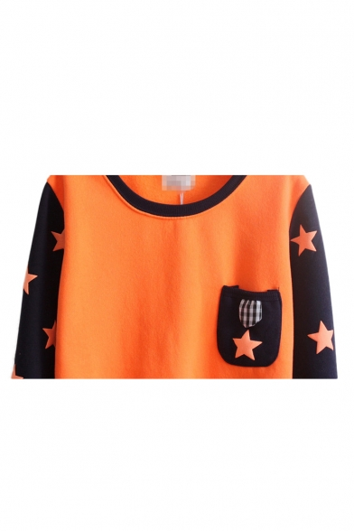Star Pattern Round Neck Long Sleeve Sweatshirt with Pocket  Front