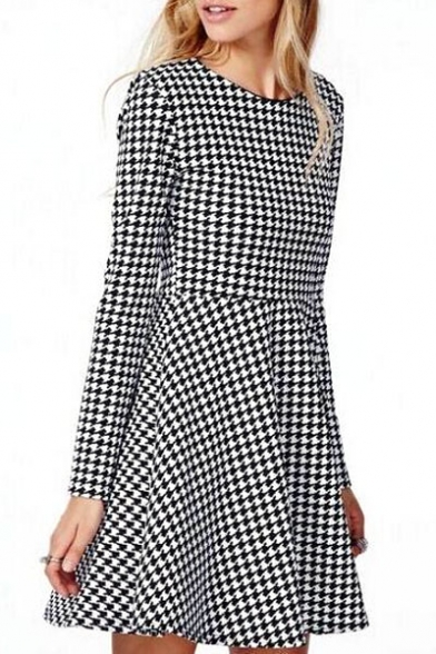 53629d2798 Houndstooth Pattern Long Sleeve Skater Dress - Beautifulhalo.com