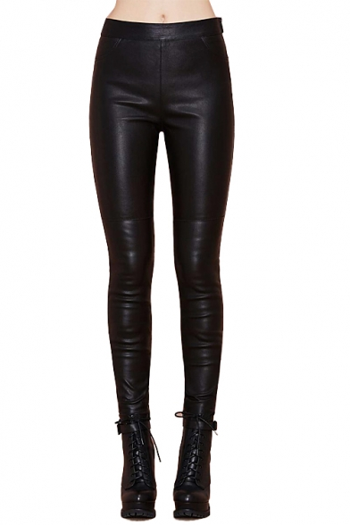 Fitted PU Panel High Elastic Waist Leggings