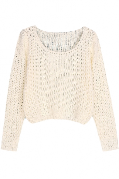35d8bb3d44 Plain Round Neck Long Sleeve Chunky Knitted Crop Sweater - Beautifulhalo.com
