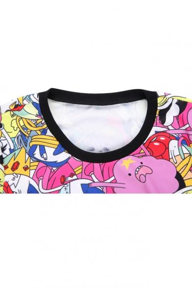 Cartoon Pattern Print Round Neck Long Sleeve Sweatshirt