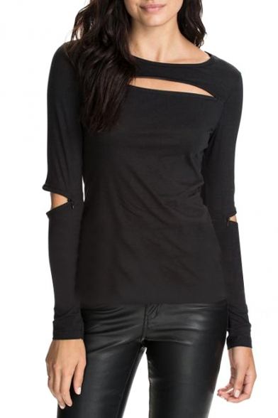 Plain Round Neck Long Sleeve Top With Elbow Cutout