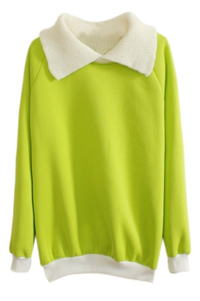 Contrast Collar Long Sleeve Pullover Sweatshirt