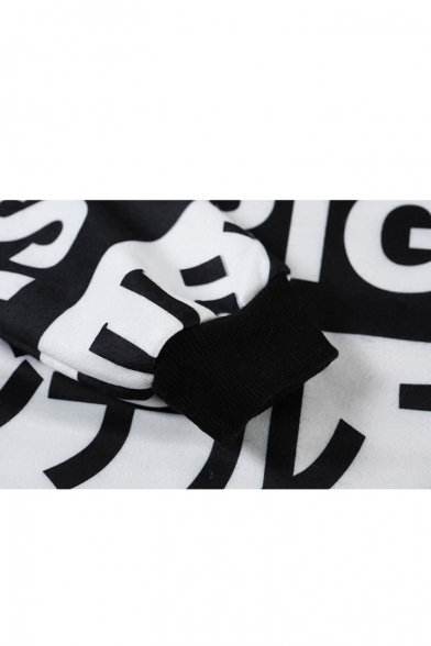 Boyfriend White Japanese Print Long Sleeve Hoodie