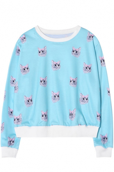 Cat Head Print Round Neck Long Sleeve Loose Sweatshirt