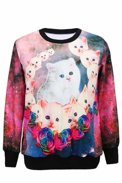 Little Cat Print Round Neck Long Sleeve Sweatshirt