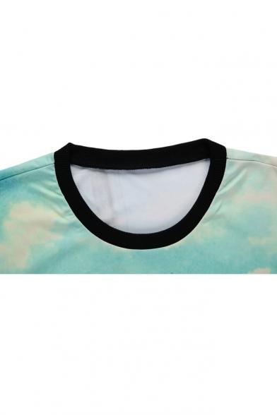 Tree Print Round Neck Long Sleeve Sweatshirt